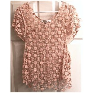 Banana U.S.A. Crocheted Peach Blouse